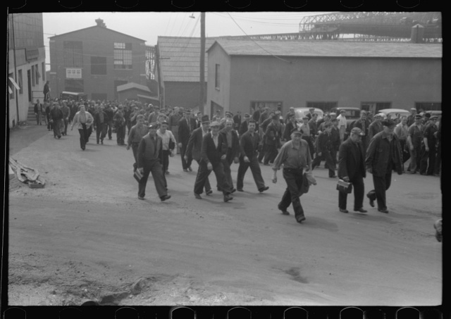 Workers leaving plant at change of shift before being paid off. Electric Boat Works, Groton, Connecticut