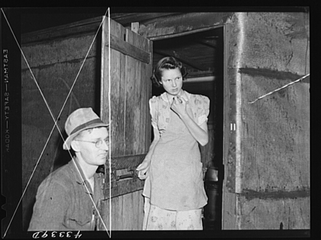 Young girl lives in this shack with her husband who works at Fort Bragg.  In a settlement near Manchester, North Carolina