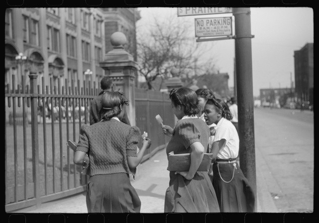Young people outside of Negro high school, Black Belt, Chicago, Illinois
