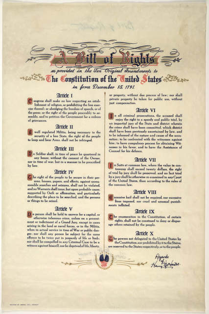 A bill of rights as provided in the ten original amendments to the constitution of the United States in force December 15, 1791. [n. p. 1942?].