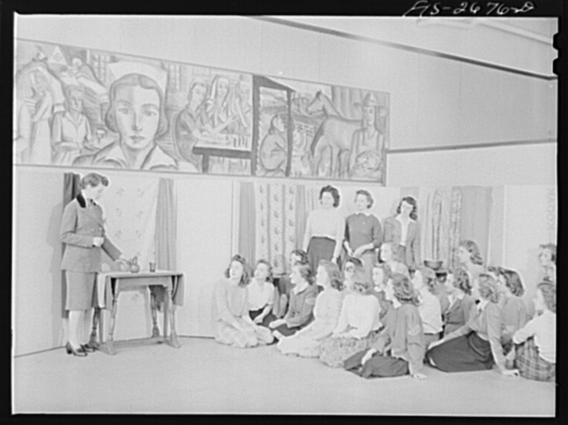 A class in interior house design at Iowa State College. Ames, Iowa