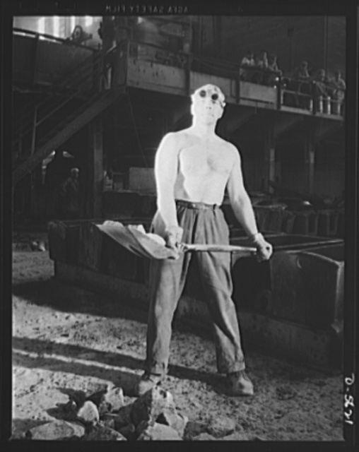 A poster comes to life. He doesn't wear a sergeant's stripes or a captain's bars, but he's an essential soldier of the home front, just as vital to the winning of this war as the men in uniform on America's myriad battlefields. A steelworker, whose job includes shoveling limestone into an electric furnace, is helping to produce the weapons to smash the Axis