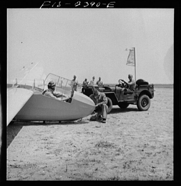 A scene at the U.S. Marine Corps glider detachment training camp at Parris Island, South Carolina