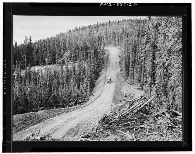 A stretch in the Alcan Highway which connects Edmonton, Canada, with Fairbanks (Fort Nelson), Alaska