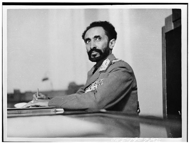 Addis Ababa, Ethiopia. Haile Selassie, Emperor of Ethiopia, in his study at the palace