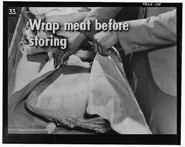After curing, wrap the meat in heavy, clean wrapping paper--not newspaper. This helps to keep out the insects, and takes up the grease. Wrap the meat well, with extra paper at the bottom, where more grease is likely to soak through when the meat is hanging