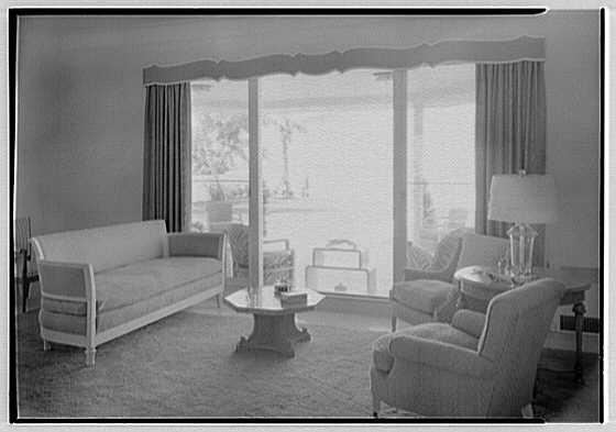 Albert Mills, residence at 5970 N. Bay Rd., Miami Beach, Florida. Living room, to window