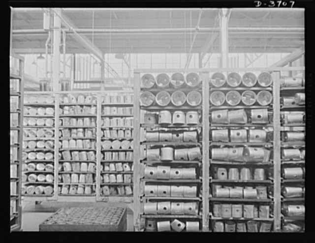 Aluminum castings. Aluminum castings stacked on trucks in a large Midwest aluminum foundry now converted to production of articles for the army and air corps. These cylinders are now ready for heat treatment