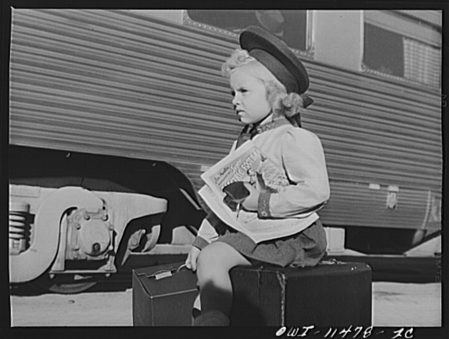 Amarillo, Texas. Little girl waiting to board the Rock Island Rocket
