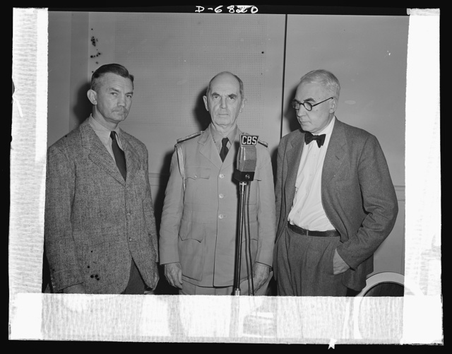America's leaders discuss war needs in a radio program. America's leaders discuss the Army-Navy Production Awards and the critical needs of war production in a program on August 9, 1942. Left to right: James V. Forrestal, Under Secretary of the Navy; Admiral William D. Leahy, Chief of Staff of the Commander-in-Chief of the Army and Navy; and Elmer Davis, Director of the Office of War Information (OWI)