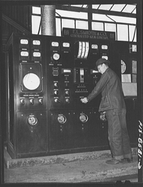 Anaconda smelter, Montana. Anaconda Copper Mining Company. Control panel of the large kiln used in roasting the manganese ore