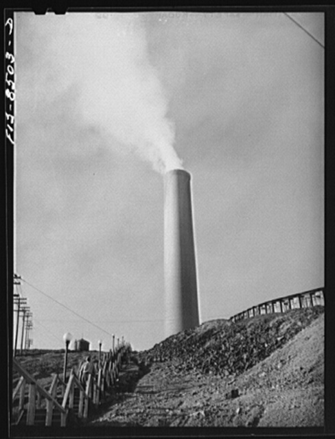 Anaconda smelter, Montana. Anaconda Copper Mining Company. Looking up the hill towards the smokestack which is the largest in the world: 585 feet high with diameter at base seventy-five feet and at top sixty feet