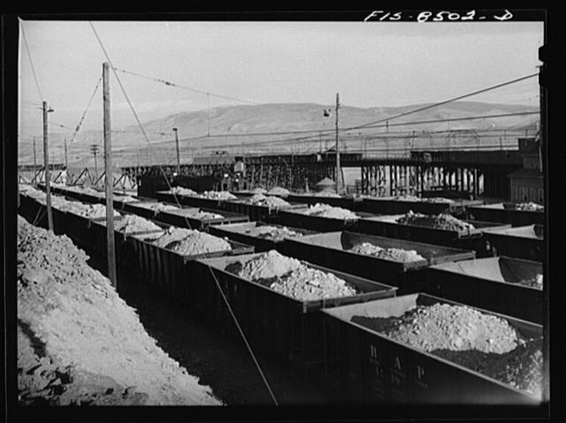 Anaconda smelter, Montana. Anaconda Copper Mining Company. Railroad yard full of ore cars, each of which contains fifty tons of copper ore