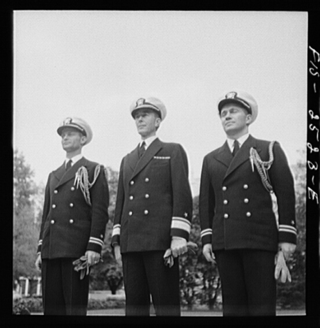 Annapolis, Maryland. Rear Admiral Beardall and his aides: Lieutenant Jones (left), and Lieutenant D.K. Martineau (right)
