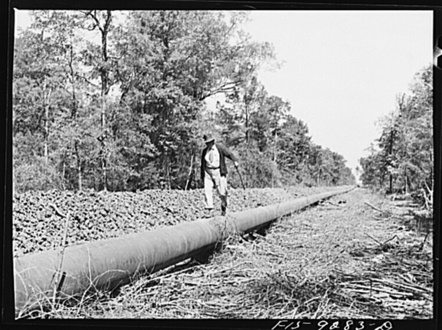Arkansas-Texas state line to Gurdon, Arkansas. War emergency pipeline from Longview, Texas to Norris City, Illinois. Mike Miles, chief inspector on the walking line