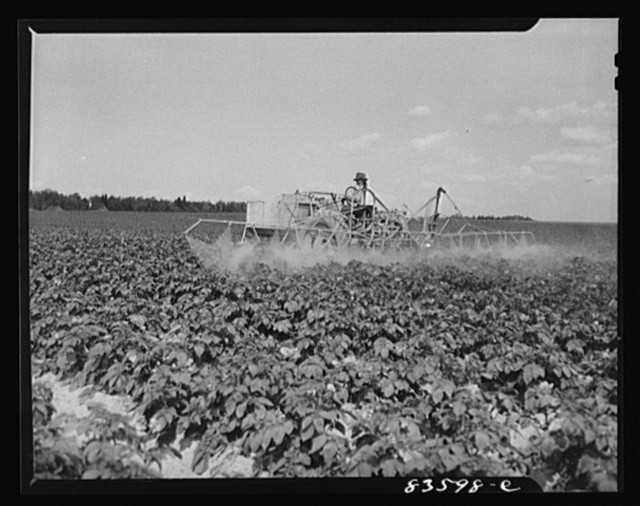 Aroostook County, Maine. Mechanized sprayer on the land which once belonged to Belonie Dufour and is now owned by Berce and Clark land company