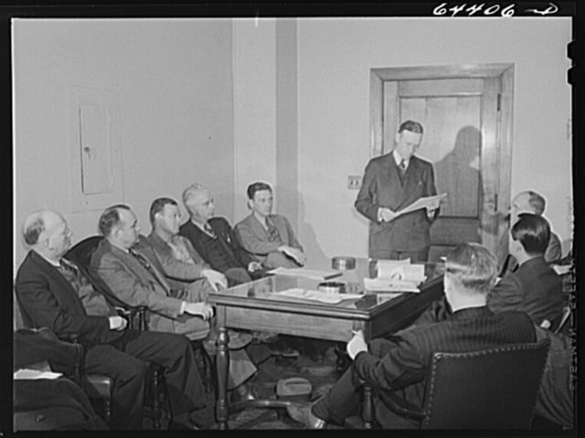 Athens, Ohio. Mayor Franz Woodworth addressing a meeting of the utilities division of the Athens civilian defense council
