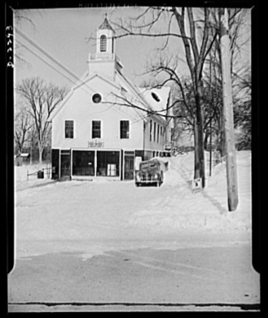 Bantam, Connecticut. Bantam is hoping eventually to get a new post office and town hall. The town burgesses meet above the post office, while the rest of the second story here is given over to a little-used basketball court. Postmaster Edward M. Doyle, who is not related to James L. Doyle, the town warden, has run out of defense stamps more than once, for Bantam is buying bonds and stamps in large quantities. The volume at the post office has risen considerably in the eight years Doyle has been in charge, his own salary going from sixteen hundred to twenty-one hundred annually in that time. He's especially proud of the consistently excellent ratings his premises are given by government inspectors