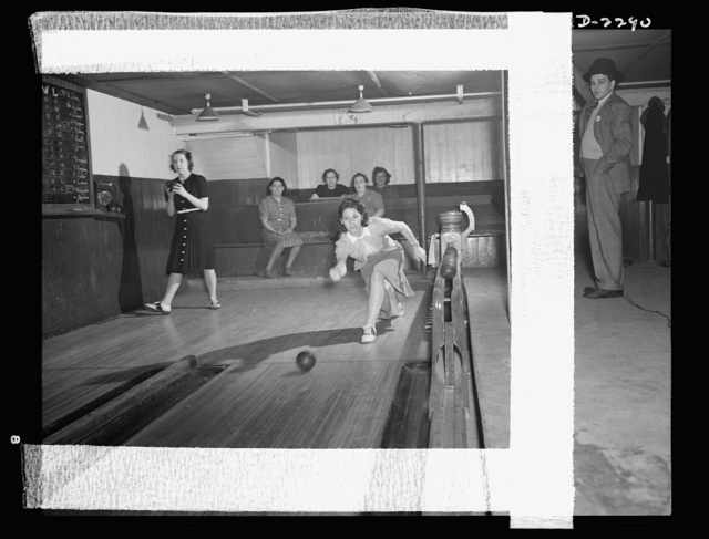 Bantam, Connecticut. In the basement of the town firehouse is the bowling alley, revenue from which helps to support the town's volunteer fire companies. Each night is alloted to a specific group, and there are several hot rivalries. Among the women shown here is Mrs. Winfield Peterson whose husband is foreman of the Warren McArthur experimental shop