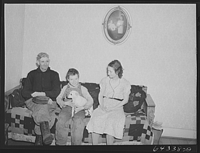 Bates County relocation project, Missouri. Fred Whitesell and family, now living on a 160 acre farm. They moved up here with the aid of the FSA (Farm Security Administration) after the Army had bought up their Ozark farm for construction of Camp Crowder