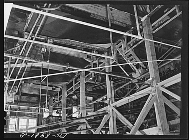 Ben Bow chromite mill, Stillwater County, Montana. Tables on which concentration of chrome ore is completed by a vibratory process