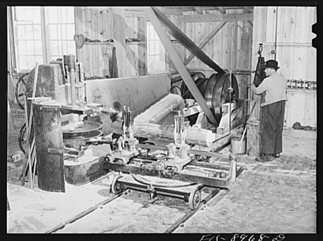 Ben Bow chromite mine, Stillwater County, Montana. Machines for preparation of the timbers used in timbering the mine