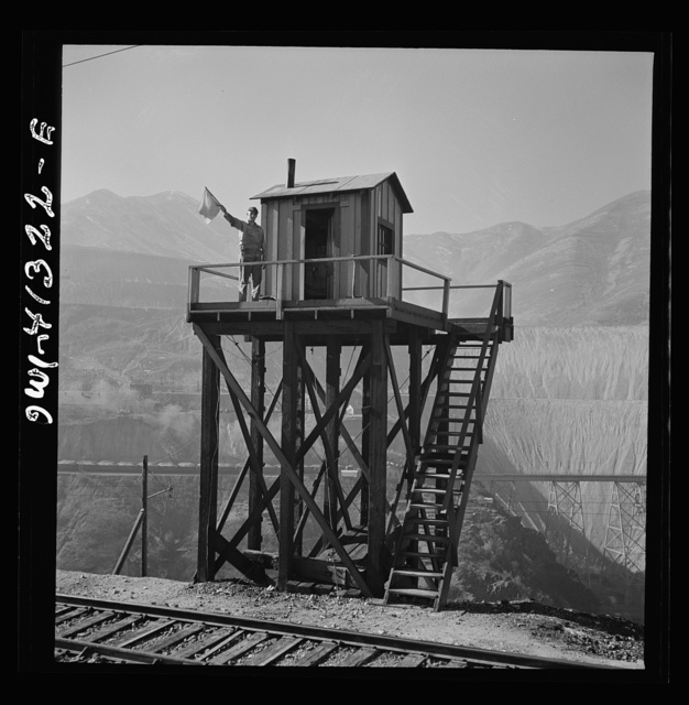 Bingham Canyon, Utah. Signalman of the Utah Copper Company at its open-pit mine workings