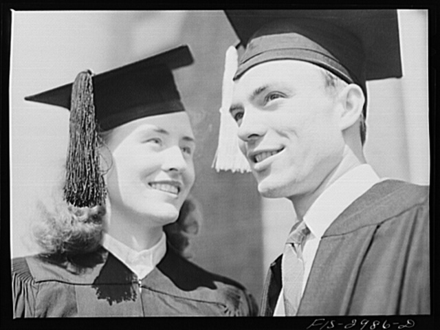 Bob Aden and his wife, Marion, on graduation day. She graduated from the Liberal Arts College; he received his master's degree in Business Administration. University of Nebraska, Lincoln