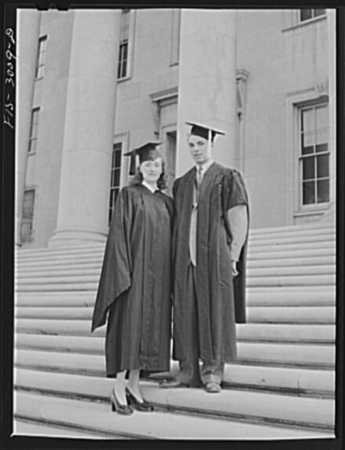 Bob Aden and his wife, Marion, on graduation day. University of Nebraska, Lincoln