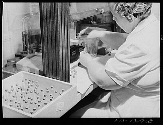 Bottling eight cubic centimeter quantities of typhus vaccine. USPHS (United States Public Health Service)  Rocky Mountain Laboratory. Hamilton, Montana
