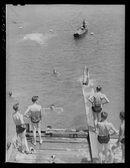 Boys swimming and boating at a Boy Scout camp. Florence (vicinity), Alabama.