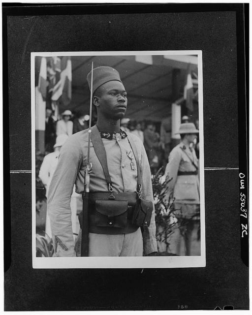 Brazzaville, French Equatorial Africa. A tirailleur (infantryman) who has been awarded the Cross of Liberation by General Charles de Gaulle