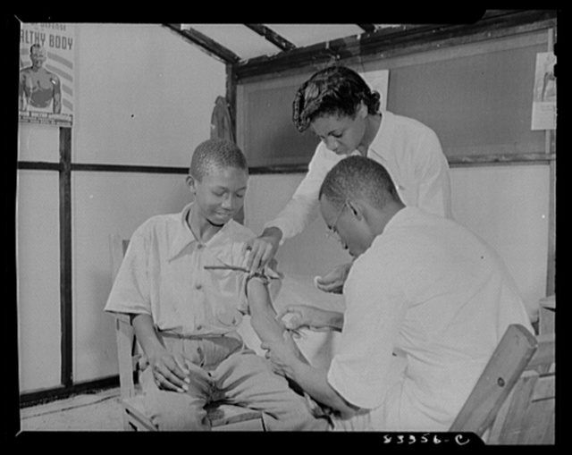 Bridgeton, New Jersey. FSA (Farm Security Administration) agricultural workers' camp. Taking blood for Wasserman test