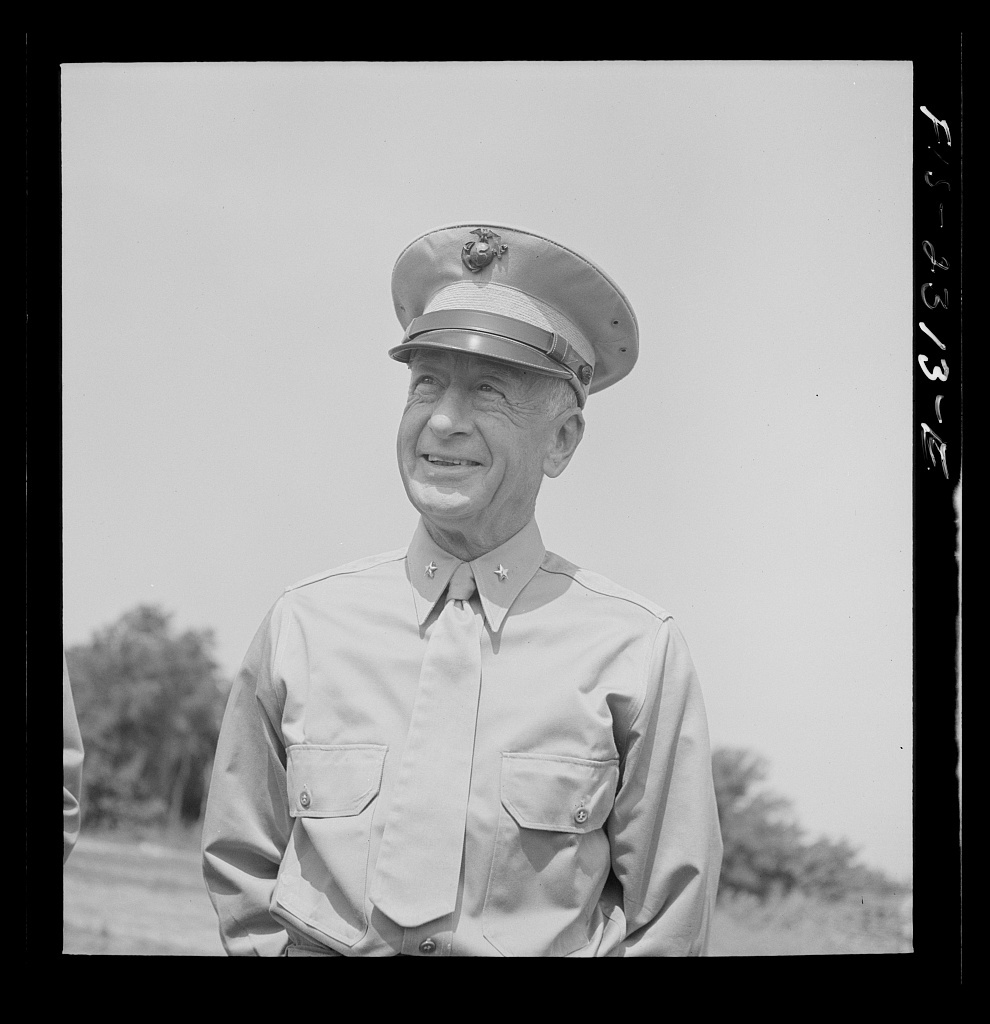 Brigadier General Emile Moses on an inspection trip, photographed at the glider detachment training camp at Parris Island, South Carolina