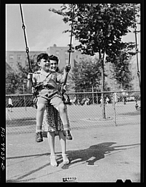 Brooklyn, New York. Red Hook housing project. Mrs. Caputo and Jimmy at the playground
