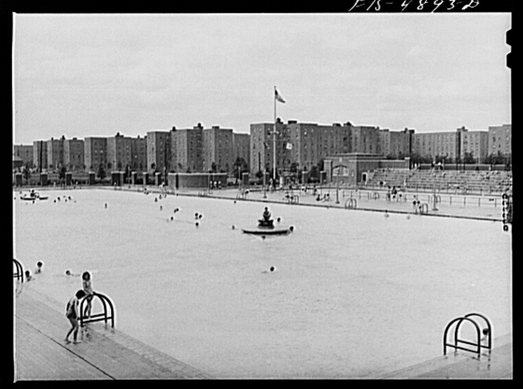 Brooklyn, New York. Red Hook housing project. Wading pool at the city play center