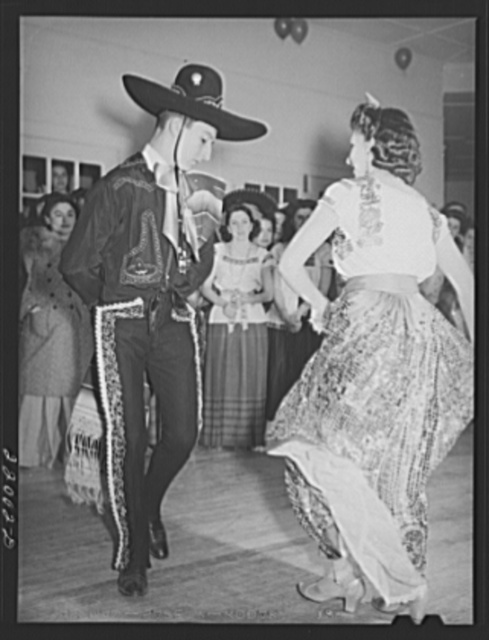 Brownsville, Texas. Charro Days fiesta. Dancing the jarabe tapatia at Triple L Club dance