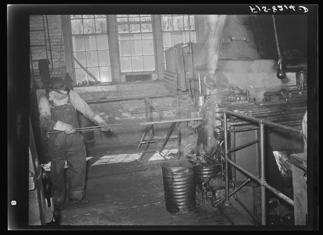 Butte, Montana. Anaconda Copper Mining Company. First step in making bits for a pneumatic drilling machine is to heat a rod of the proper size; this rod is placed into machine which punches and forms the bit; this process is called drop forging. Bit plant of the Anaconda Copper Mining Company