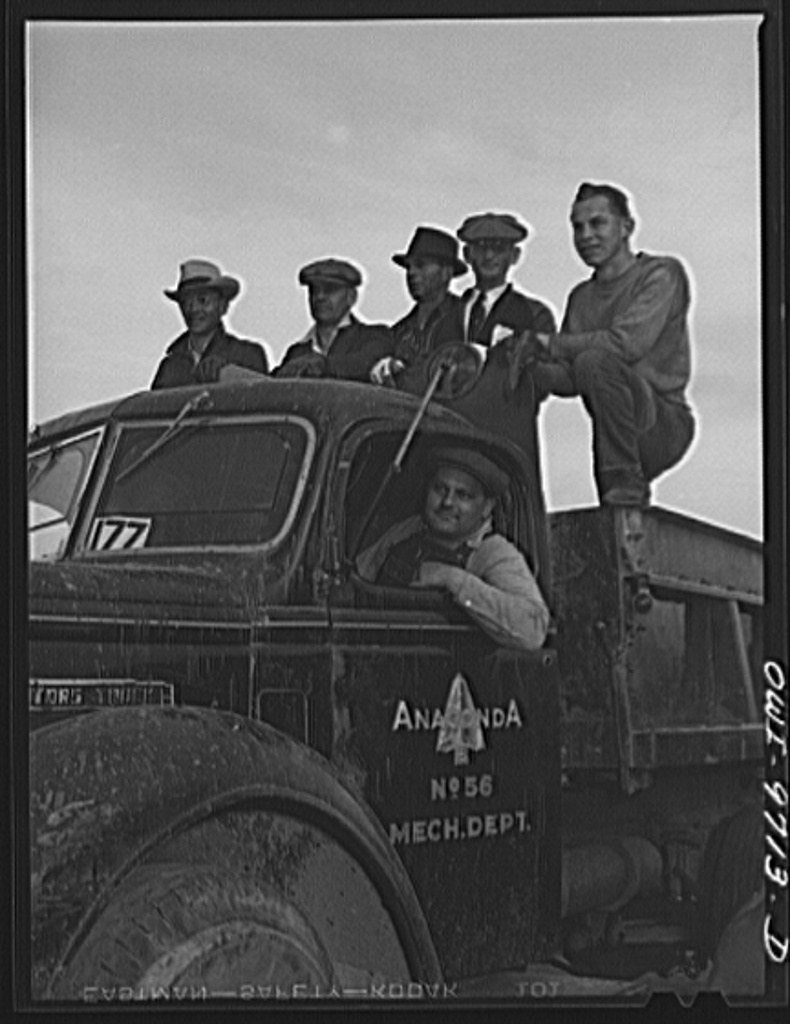 Butte, Montana. The Anaconda Copper Mining Company loaned trucks for use in the scrap campaign