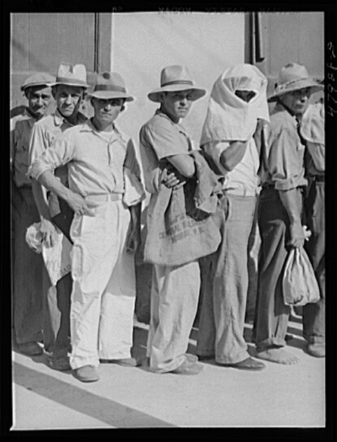 Cabo Rojo, Puerto Rico. Waiting in line at the surplus commodities office. Fatback and meal were distributed that day