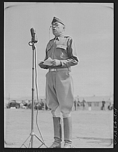 Camp Funston, Kansas. General Millikan addressing his troops during a review