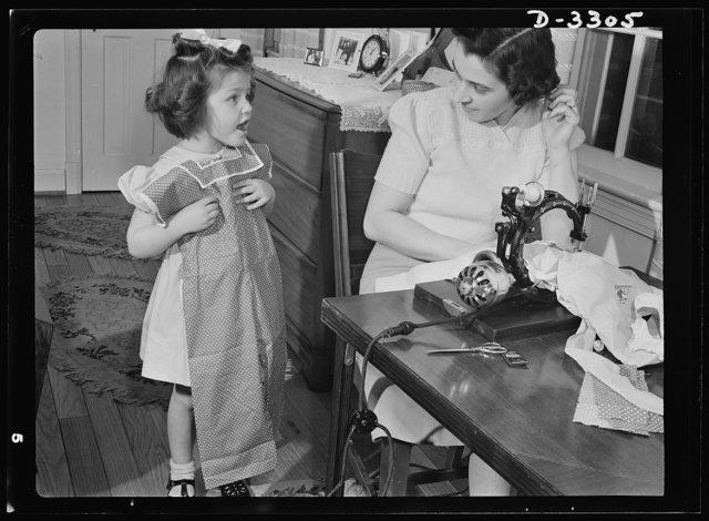 """""""Can I wear it today?"""" Attractive playsuits for daughter can be made from that old housedress, the one with the splitting seams, and Junior's first long pants (no cuffs) can emerge from father's old overcoat. With shortages of wool and other materials that are needed by the armed forces, it's wise, mother, to conserve clothing by altering and"""