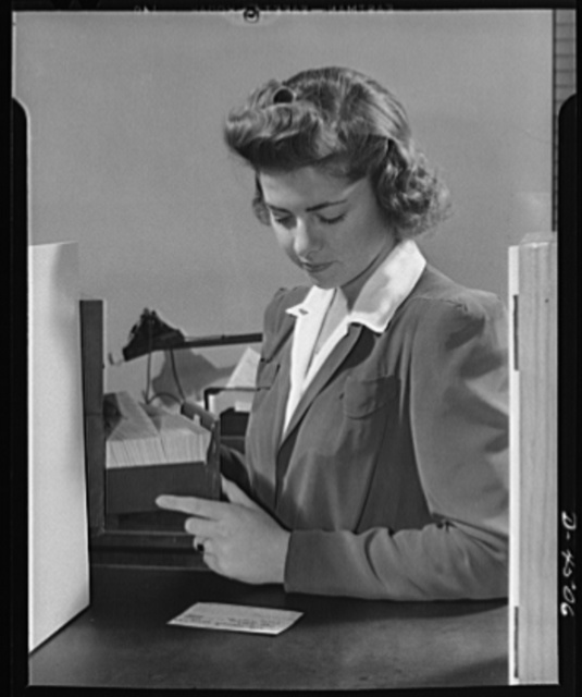 Car pooling at Lockheed Vega. Back to the driver card file, and the clerk, specially trained to handle rider-driver contacts, begins search for suitable driver