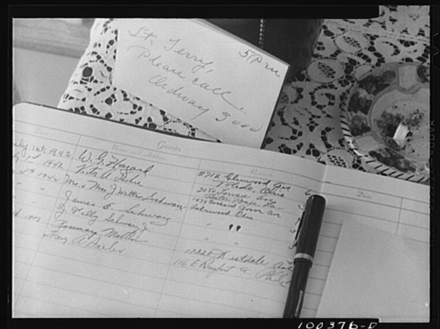 Chevy Chase, Maryland. The register in Mrs. Harper's tourist home