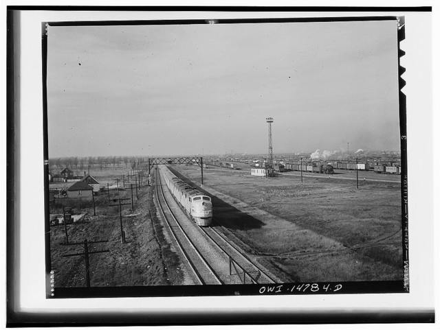 Chicago, Illinois. A Chicago and Northwestern Railroad streamliner on its way into Chicago