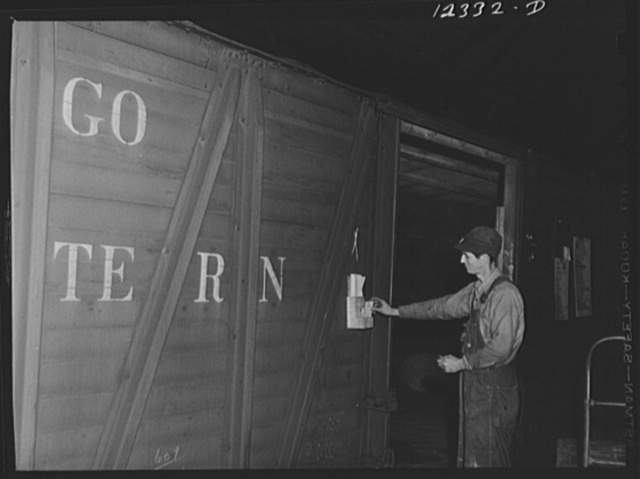Chicago, Illinois. An accurate check of all goods going into or out of each freight car is kept on the tickets in these boxes in the freight house at a Chicago and Northwestern Railroad yard