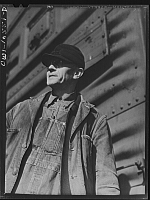 Chicago, Illinois. E. A. Morgan of Harvey, Illinois, freight conductor in an Illinois Central Railroad yard