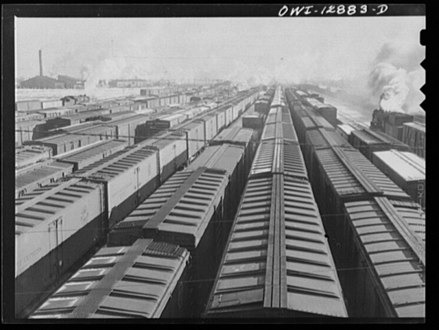 Chicago, Illinois. Freight cars in one of the Chicago and Northwestern Railroad classification yards