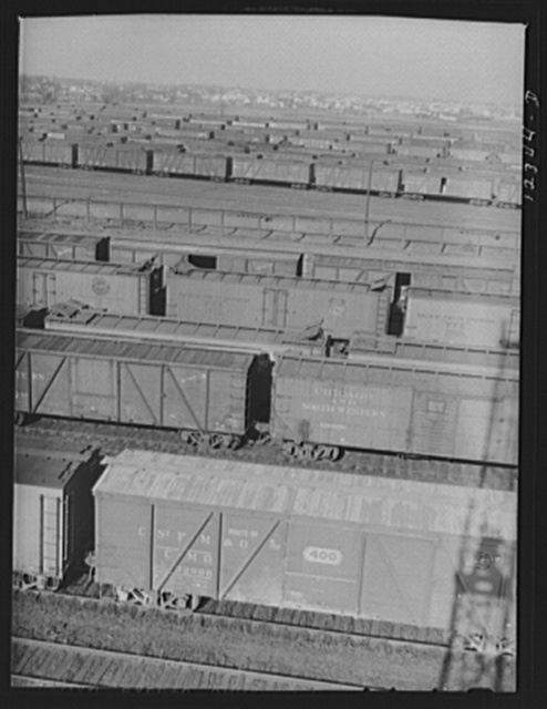 Chicago, Illinois. Freight cars in the Chicago and Northwestern Railroad classification yard
