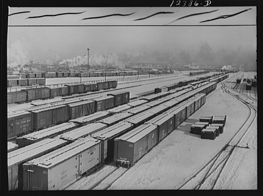 Chicago, Illinois. General view of one of the Chicago and Northwestern Railroad classification yards